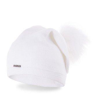 Czapka damska jednolita biała