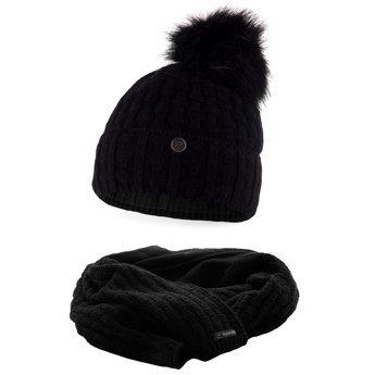 Komplet damski czapka szalik czarny