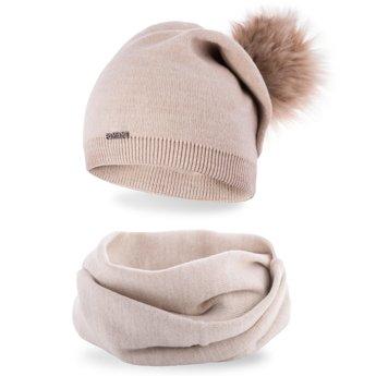 Komplet damski jednolity czapka komin beżowy