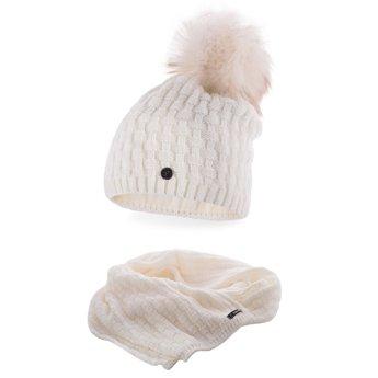 Komplet damski luksus czapka szalik ecru