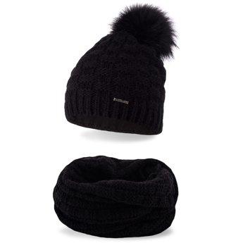 Komplet zimowy damski czapka komin czarny