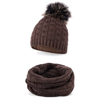Komplet zimowy damski czapka komin czekoladowy