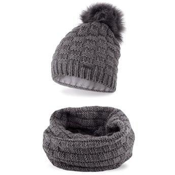 Komplet zimowy damski czapka komin jasnoszary