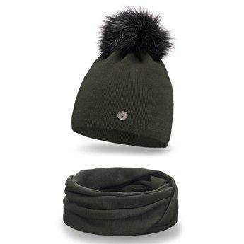 Komplet zimowy damski gładki czapka komin khaki