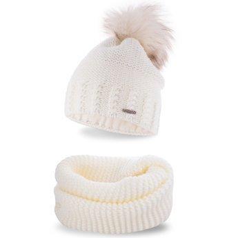 Komplet zimowy pompon czapka komin ecru