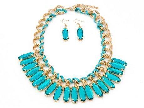 Naszyjnik kolczyki slides turquoise