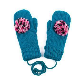 Rękawiczki pompon turquoise